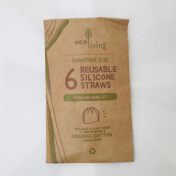 silicone straws x 6 with cleaner