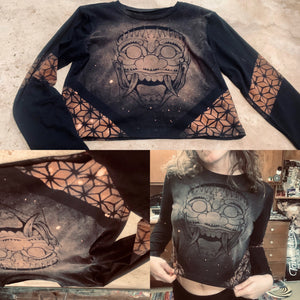 Oni Mask Long Sleeve Crop Top