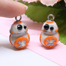 Load image into Gallery viewer, White and Orange Space Robot BB8 Charm
