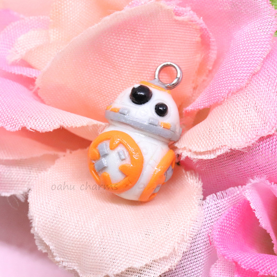 White and Orange Space Robot BB8 Charm