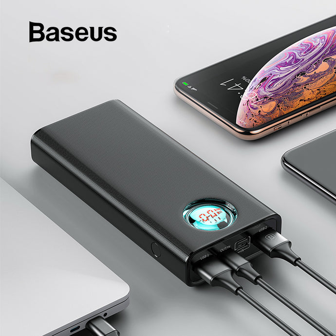 Baseus 20000mAh Power Bank - Type C PD Fast Charging + Quick Charge 3.0 USB