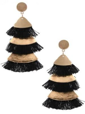 Ebb Layered Fringe Earrings-3 Colors