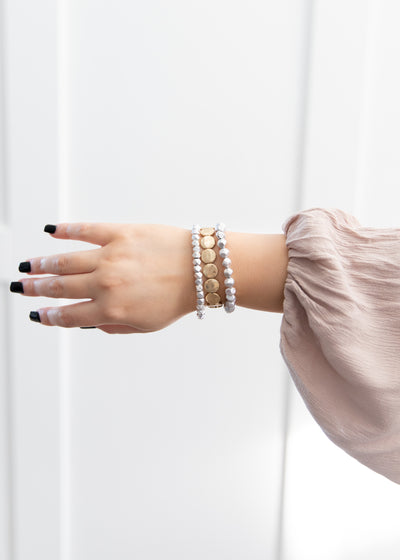 our silver and gold beaded style triple bracelet!