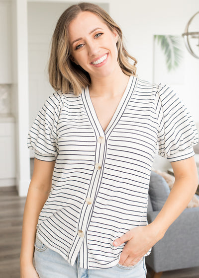 Addison Navy Striped Button Up Top