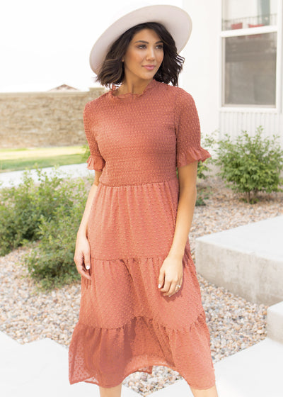 Adriana Rust Ruffle Dress