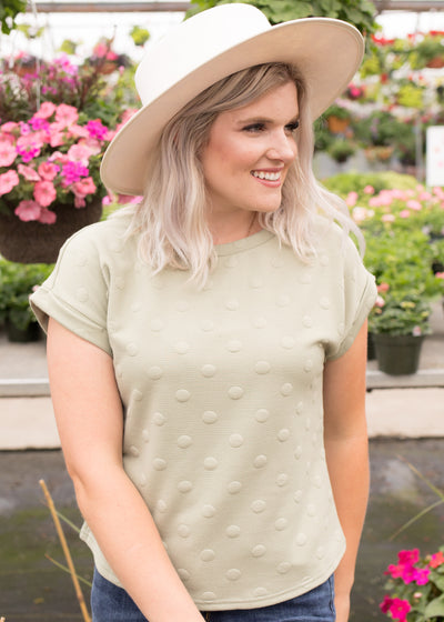 Albany Light Olive Textured Top
