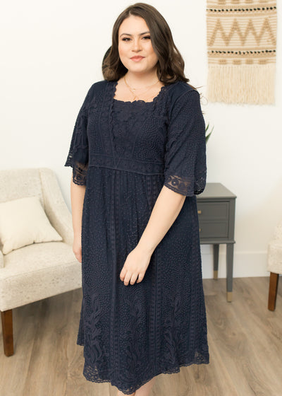 Andromeda Navy Lace Dress in Curvy