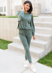 Our olive puff sleeve set paired with sneakers.