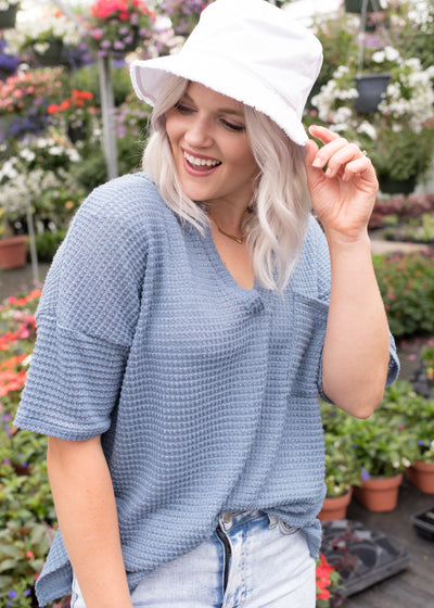 Asher Dusty Blue Knit Top
