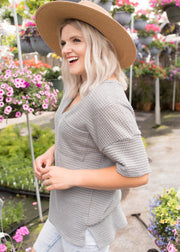 Asher Heather Grey Knit Top
