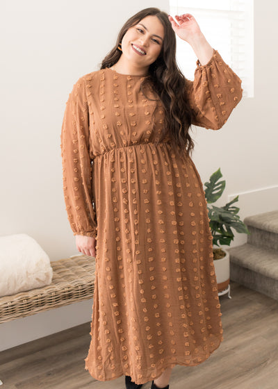 Our camel, swiss dot textured plus size midi dress paired with booties.