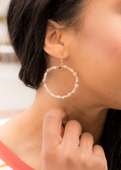 Mollie Beaded Hoop Earring in Beige