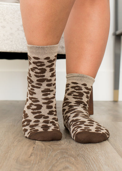 Brown Leopard Socks