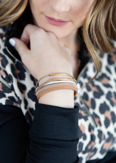Our faux leather, mixed metal wrap bracelet.