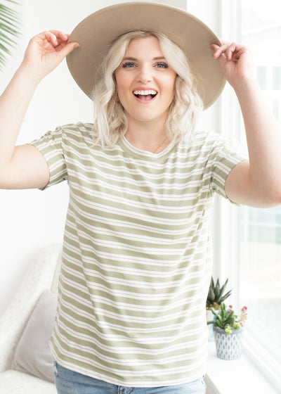 Cadence Sage Striped Top