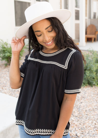 Canyon Embroidered Top in Black