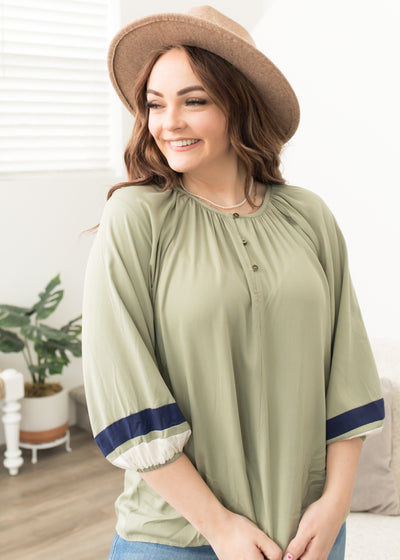 Carmen Olive Striped Sleeve Top