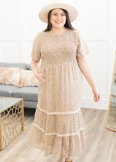 Cherish Taupe Floral Dress in Curvy