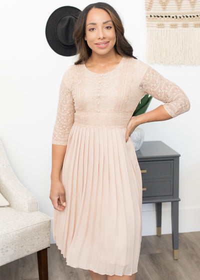 Clarissa Taupe Lace Pleated Dress