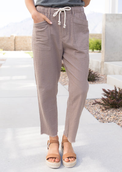 Taupe and white stripe casual pants.