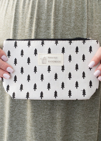 White and black tree pattern cosmetic bag.