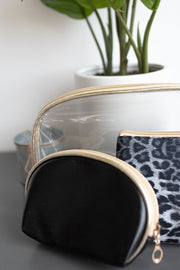 Clear, black and leopard pattern cosmetic bag set!