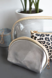 Clear, silver and leopard pattern cosmetic bag!