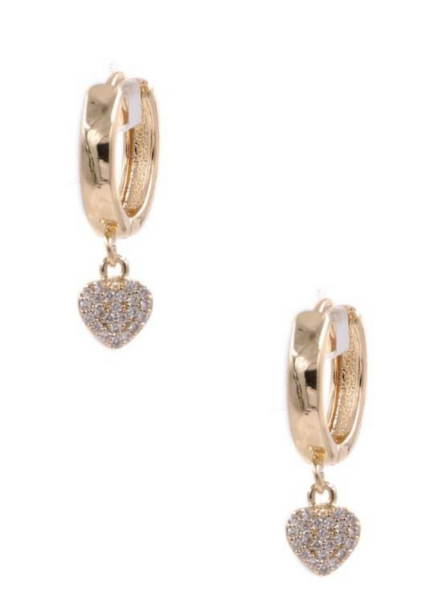 Dazzle Me Gold Heart Dangle Earrings