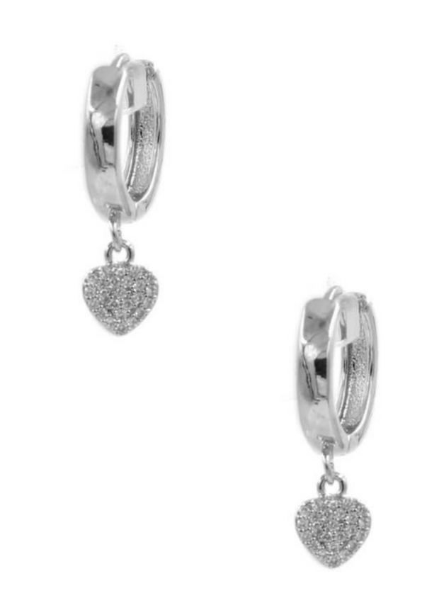 Dazzle Me Rhodium Heart Dangle Earrings