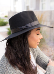Delilah Black Wool Hat
