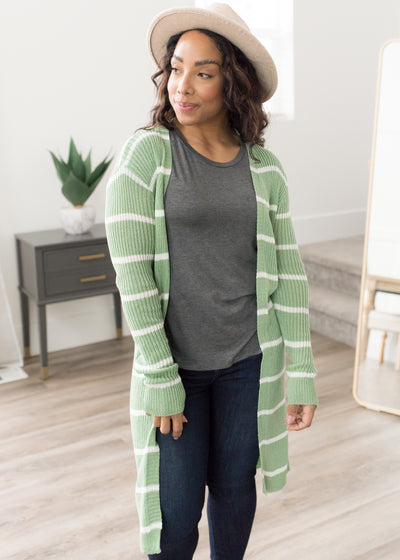 Denver Sage Striped Cardigan