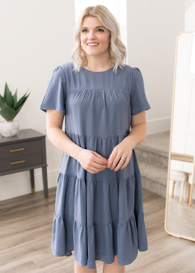 Dreaming Of You Denim Blue Tiered Dress