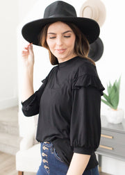 Elena Black Ruffle Sleeve Top