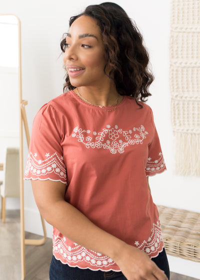Eliza Rust Embroidered Top