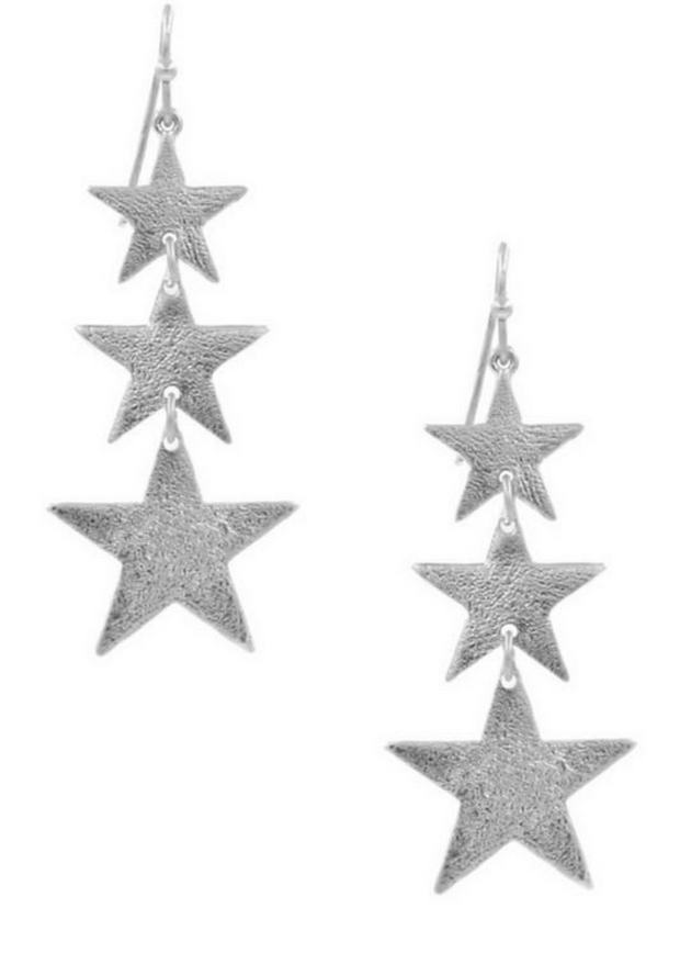 Falling Stars Silver Drop Earrings