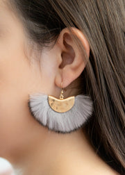 Our grey faux fur earrings