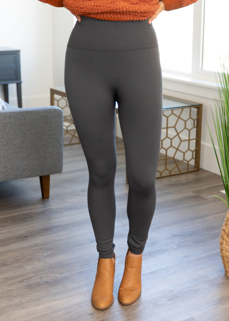 Our charcoal fleece lined leggings.