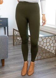 Our olive fleece lined leggings.