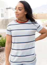 Light blue and navy stripe t-shirt paired with jean shorts.