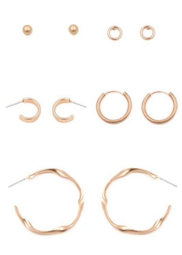 Brielle Gold Assorted Hoop Earrings Set