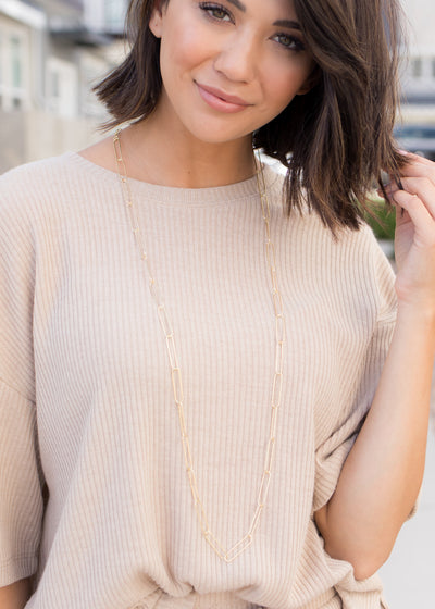 Clara Long Gold Chain Necklace