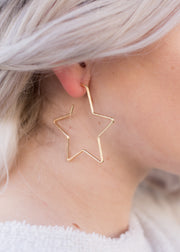 Gold, star shape hoop earring!