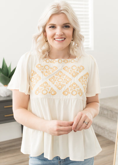 Golden Days Ivory Embroidered Top