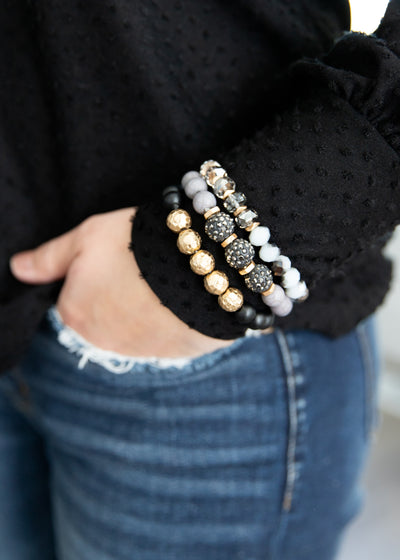 grey, gold and black beaded bracelet set!