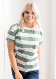 Our teal and ivory stripe shirt styled alone or with a cardigan!