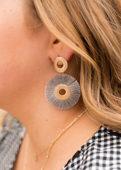 Sonoma Tassel Hoop Earring in Grey
