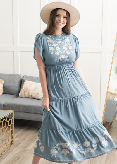 Harmony Dusty Blue Embroidered Dress