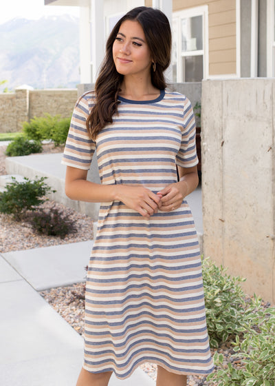 Tan, white and navy stripe t-shirt style dress.