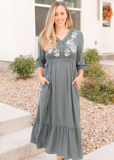 Hold Me Closer Teal Embroidered Maxi Dress
