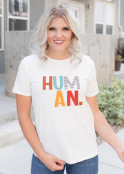 Our 'Human' graphic t-shirt paired with jeans.